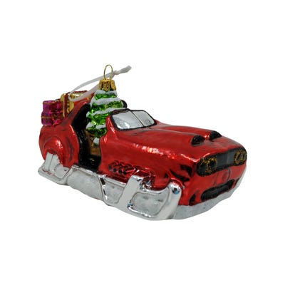 Sleigh Holiday Glass Ornament